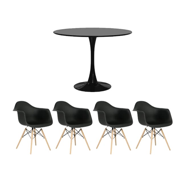 Carmen Round Dining Table 1m in Black with 4 DAW Chair Replica in Natural, Black - 0