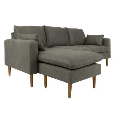 (As-is) Alicia L Shape Sofa - Suede Grey - 2 - Image 2