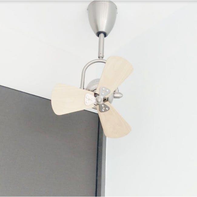 FIN6 Silver Light Oak Decor Fan - 16 inches - 2