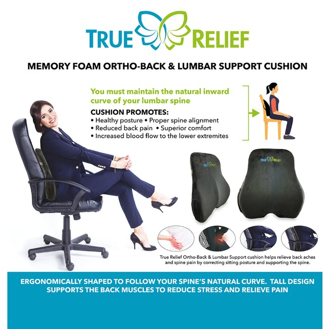 True Relief Ortho-Back & Lumbar Support Memory Foam Cushion - Charcoal Grey - 2