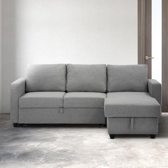 Mia L-Shaped Storage Sofa Bed - Dove Grey - 1