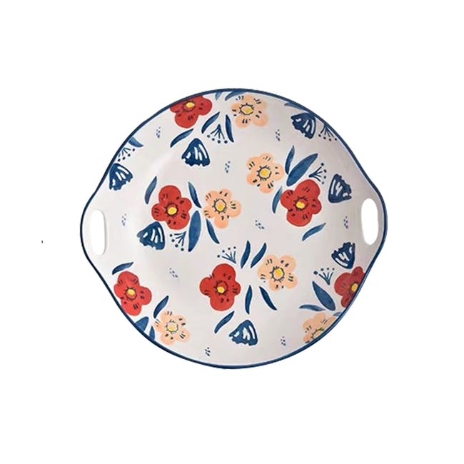 Table Matters Poppy Blossom Hand Painted Round Plate with handles - 0