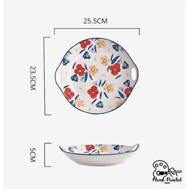 Table Matters Poppy Blossom Hand Painted Round Plate with handles - 2