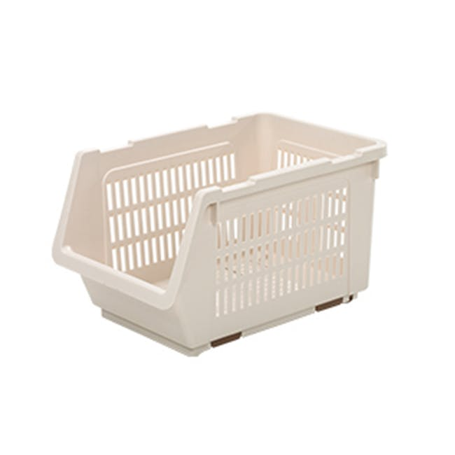 HOUZE Stackable Multi Purpose Rectangle Basket - Almond - 0