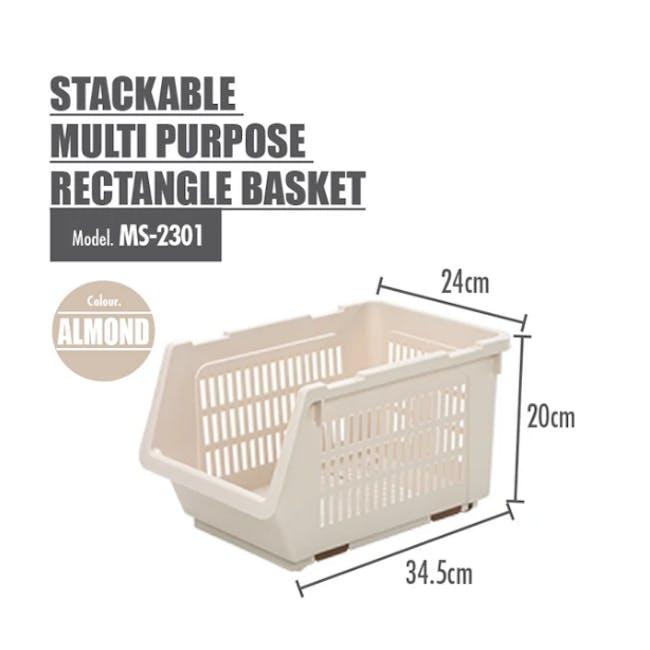 HOUZE Stackable Multi Purpose Rectangle Basket - Almond - 3