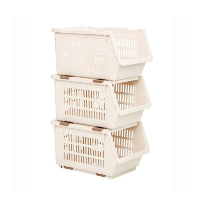 HOUZE Stackable Multi Purpose Rectangle Basket - Almond - 1