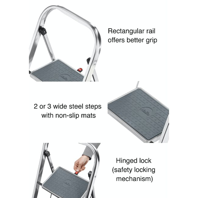Hailo K30 Light Weight 2 Step Folding Ladder - 3