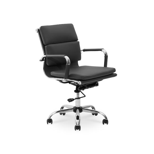 Eames Soft Pad Mid Back Office Chair Replica - Black (PU) - 1