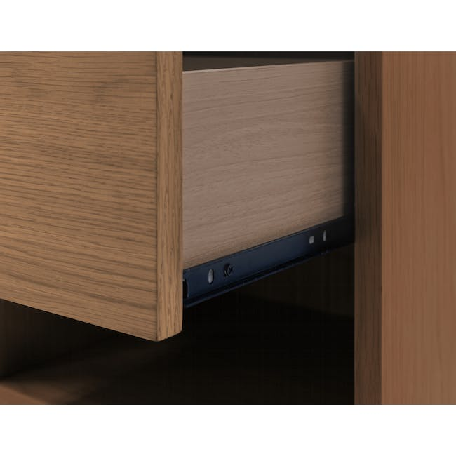 Audrey Queen Storage Bed in Seal Grey with 2 Kyoto Top Drawer Bedside Tables in Walnut - 14
