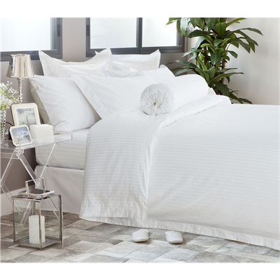 (King) Hotelier Prestigio™ 6-pc Bedding Set - White Sateen Stripe - Image 1