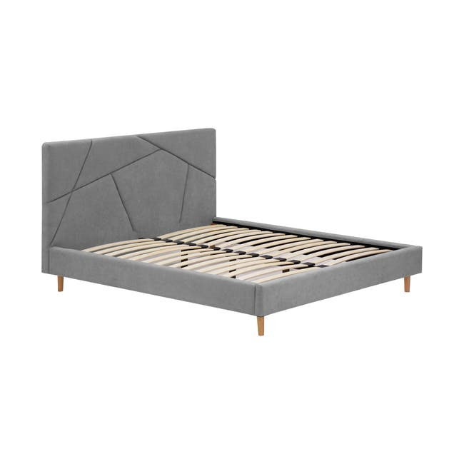 Kieran King Bed in Gray Owl with 2 Odin Bedside Tables in Natural - 4