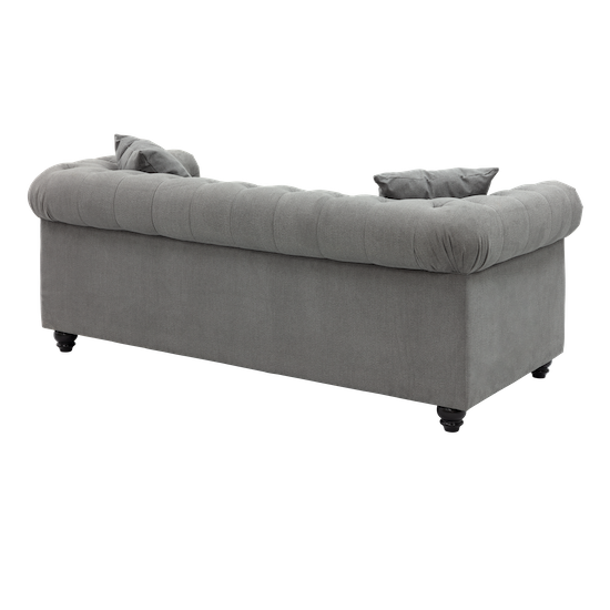 Chesterfield 3 Seater Sofa Grey Fabric Chesterfield Sofa By