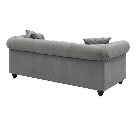 Chesterfield 3 Seater Sofa Grey Fabric