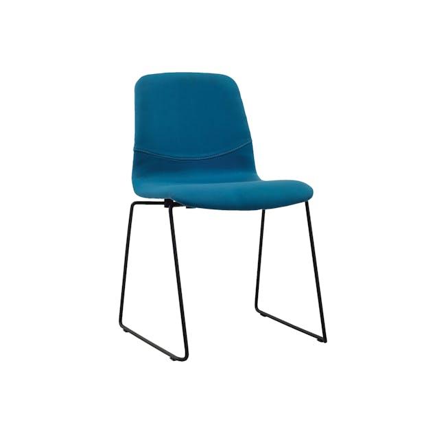 Bianca Dining Chair - Matt Black, Teal - 0