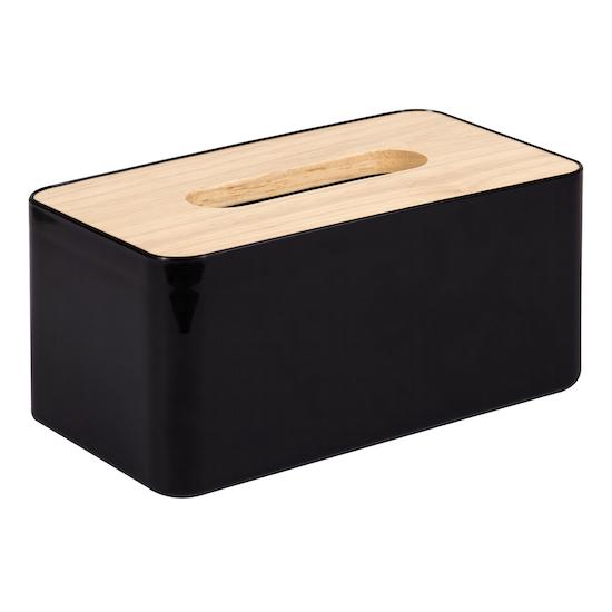 1688 - Wooden Tissue Box - Black