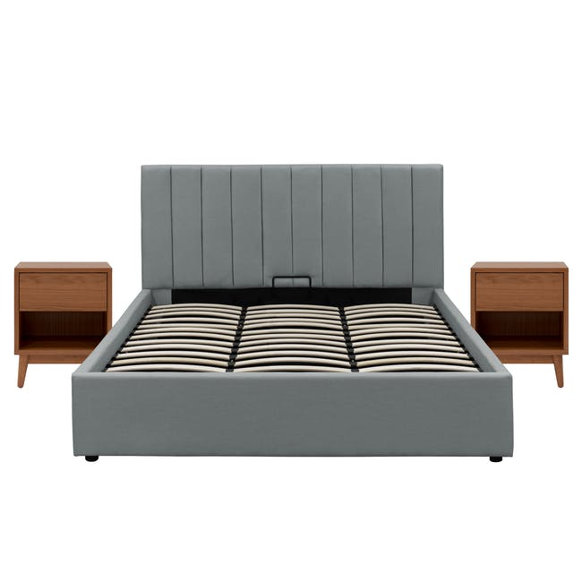 Audrey Queen Storage Bed in Seal Grey with 2 Kyoto Top Drawer Bedside Tables in Walnut - 0