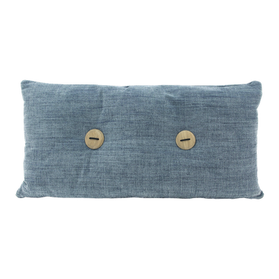 Distintivo Rectangle Cushion - Blue Grey, Down Feathers (Domett Fabric) - Image 1