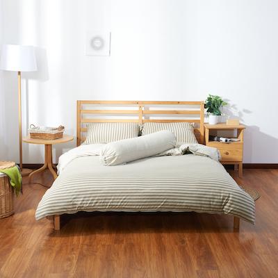 (King) Cotton Pure 6-pc Bedding Set - Brownie Beige Stripe - Image 1