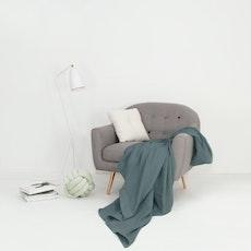 Leno Weave Cotton Throw - Smoke Blue