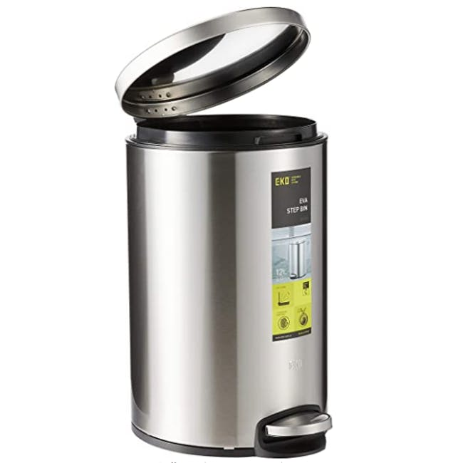 EKO Stainless Steel Step Bin With Soft Closing Lid - Brushed (2 Sizes) - 2