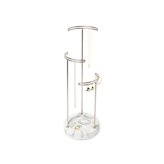 Tesora Marble Jewelry Stand - White, Nickel - 1