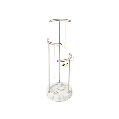 Tesora Marble Jewelry Stand - White, Nickel - Image 2