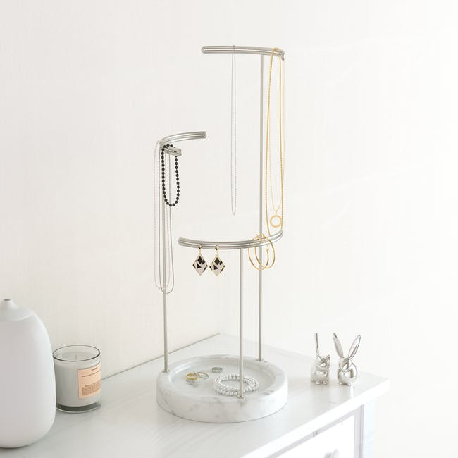 Tesora Marble Jewelry Stand - White, Nickel - 3