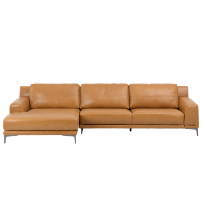 Dominic L Shape Sofa - Tan (Aniline Leather) - Image 1