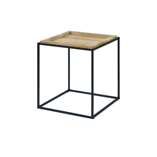Glass and Metal - Dana Square Side Table - Oak