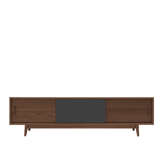 Emelie TV Console 1.6m in Walnut, Anthracite with Avery Coffee Table in Anthracite - 2