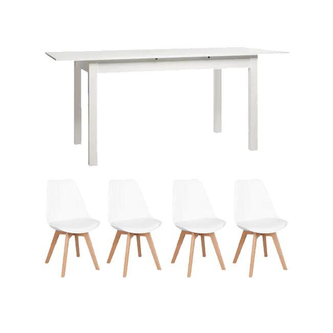Jonah Extendable Table 1.4m in White with 4 Linnett Chair in Natural, White - 0