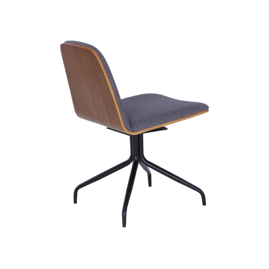 Helga - Crown Swivel Dining Chair - Walnut, Battleship Grey, Black