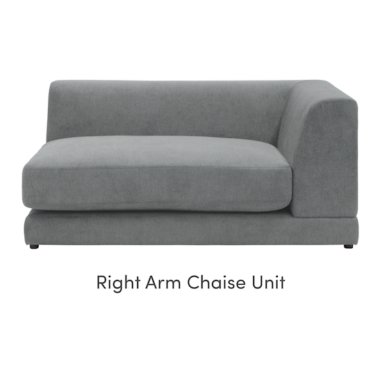 Abby Chaise Lounge Sofa Stone