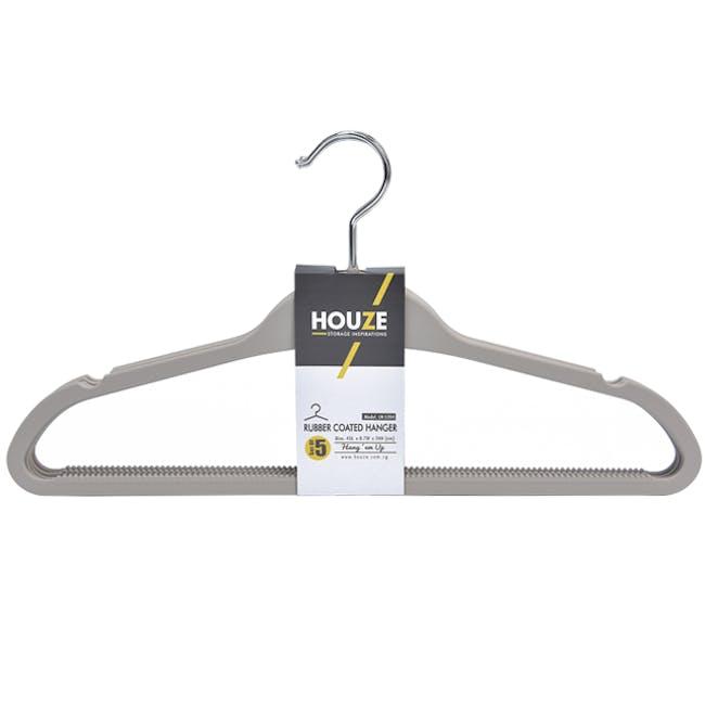 HOUZE Rubber Coated ABS Hangers (Set of 5) - Grey - 0