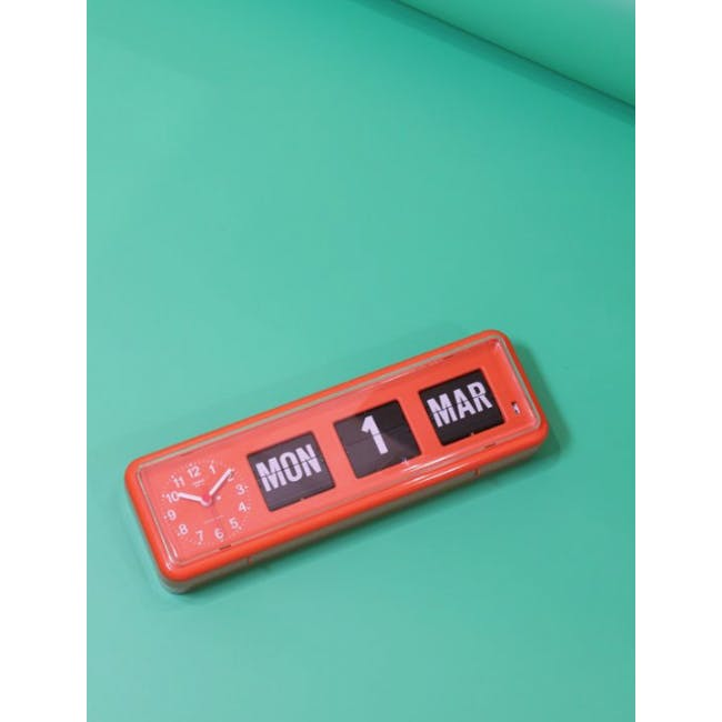 TWEMCO Calendar Flip Wall/Counter Clock - Orange - 1