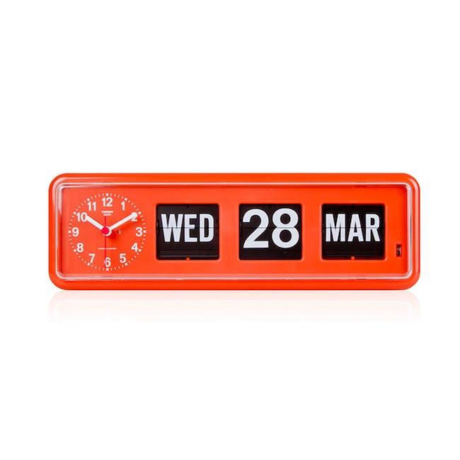 TWEMCO Calendar Flip Wall/Counter Clock - Orange - 0