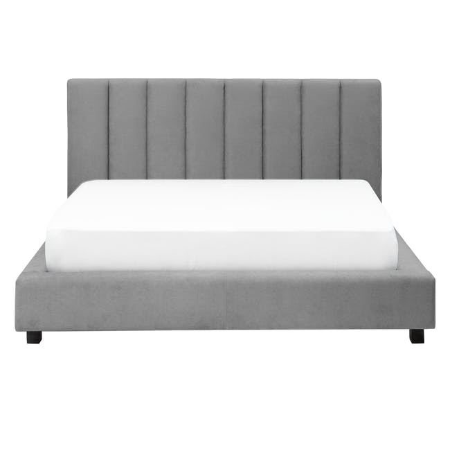 Elliot Queen Bed in Gray Owl with 2 Lewis Bedside Tables in Black, Ash Brown - 1