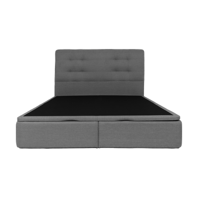 ESSENTIALS Tufted Headboard Bed with Storage - Grey (Fabric) - 4 Sizes - Image 1