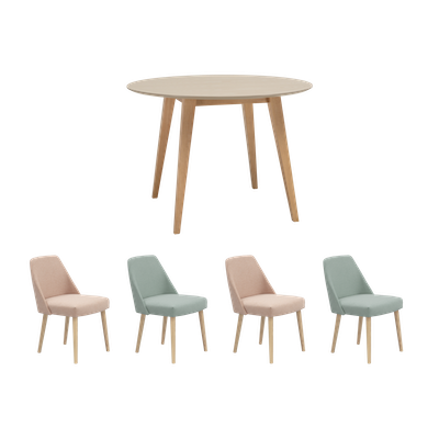 Ralph Round Dining Table with 4 Miranda Dining Chairs - Taupe Grey - Image 1