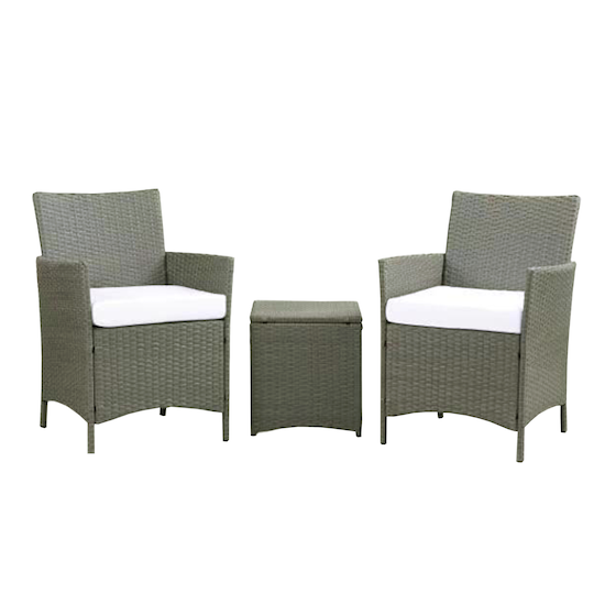 MLM Outdoor - Milton Armchairs with Side Table Outdoor Set - White