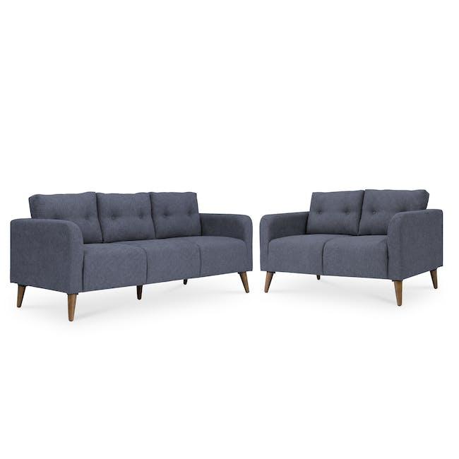 Bennett 3 Seater Sofa with Bennett 2 Seater Sofa - Midnight - 0
