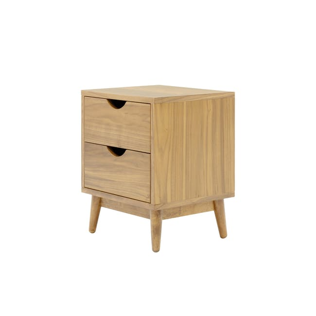 Kyoto Twin Drawer Bedside Table - Oak - 2