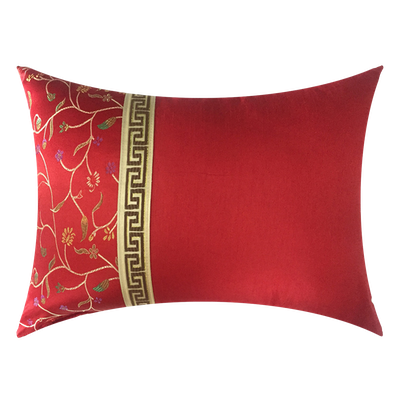 Blossom Brocade Oblong Cushion - Red - Image 2