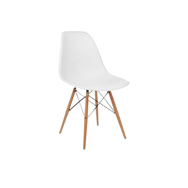 Colton Square Dining Table 0.8m with 2 DSW Chair Replica in Natural, White - 7