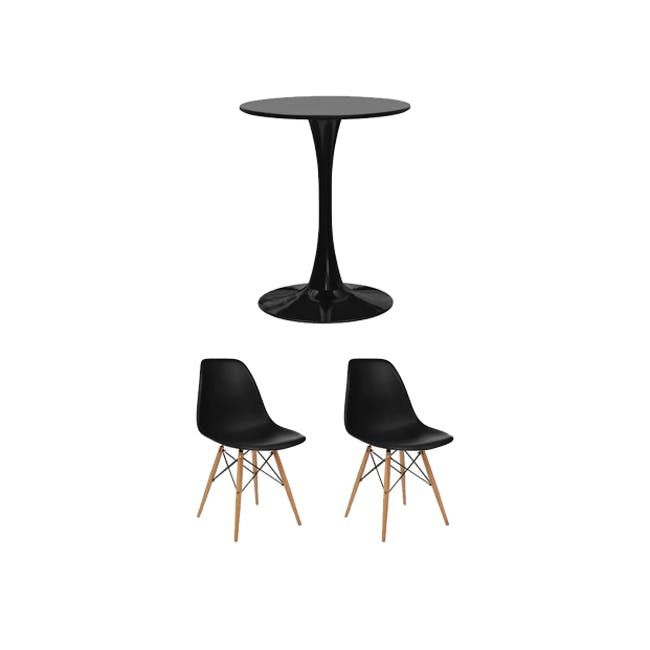 Carmen Round Dining Table 0.6m in Black with 2 DSW Chair Replica in Natural, Black - 0