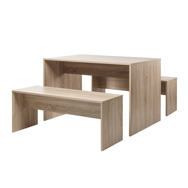 Biro Dining Set - 1.2m Table and 2 Benches - 0