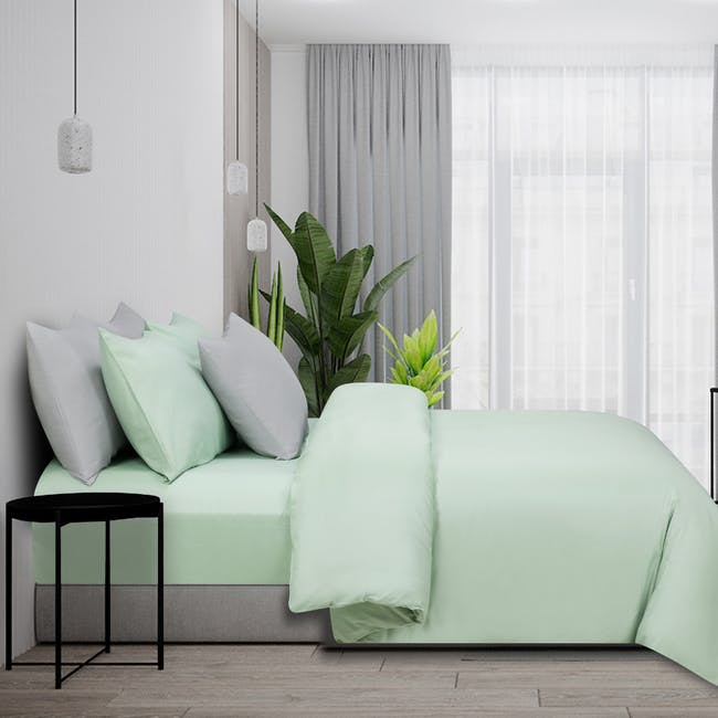 Marie Claire Morpheus Solid Fitted Sheet - Cameo Green (4 Sizes) - 0