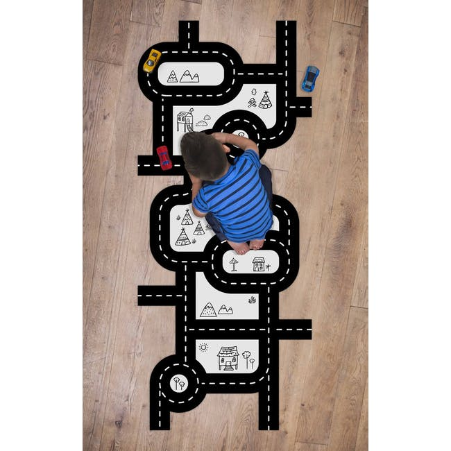 Urban Li'l Car Track Fabric Floor Decal (Nature) - 3