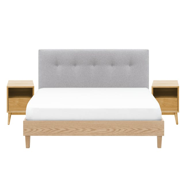 Landon Queen Bed with 2 Kyoto Bottom Drawer Bedside Table in Oak - 0