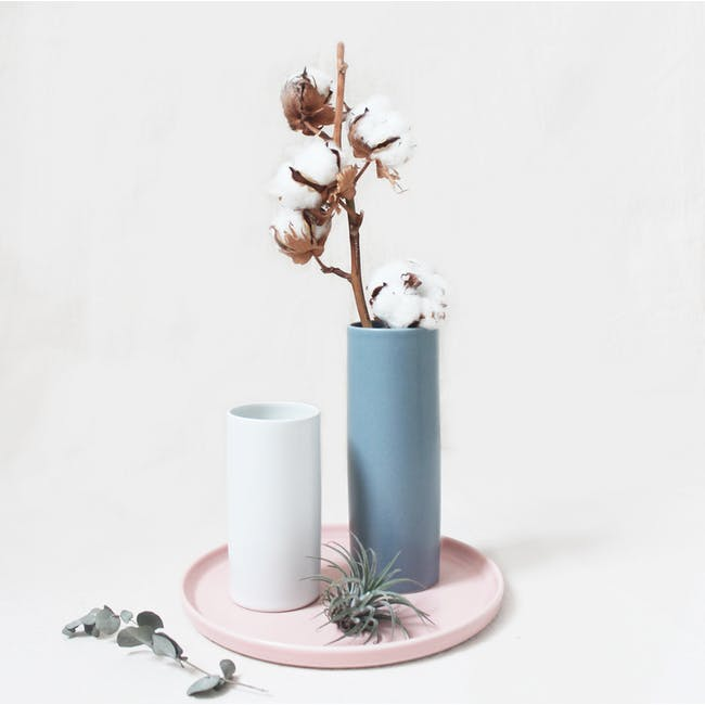 Nordic Matte Vase Small Straight Cylinder - White - 7